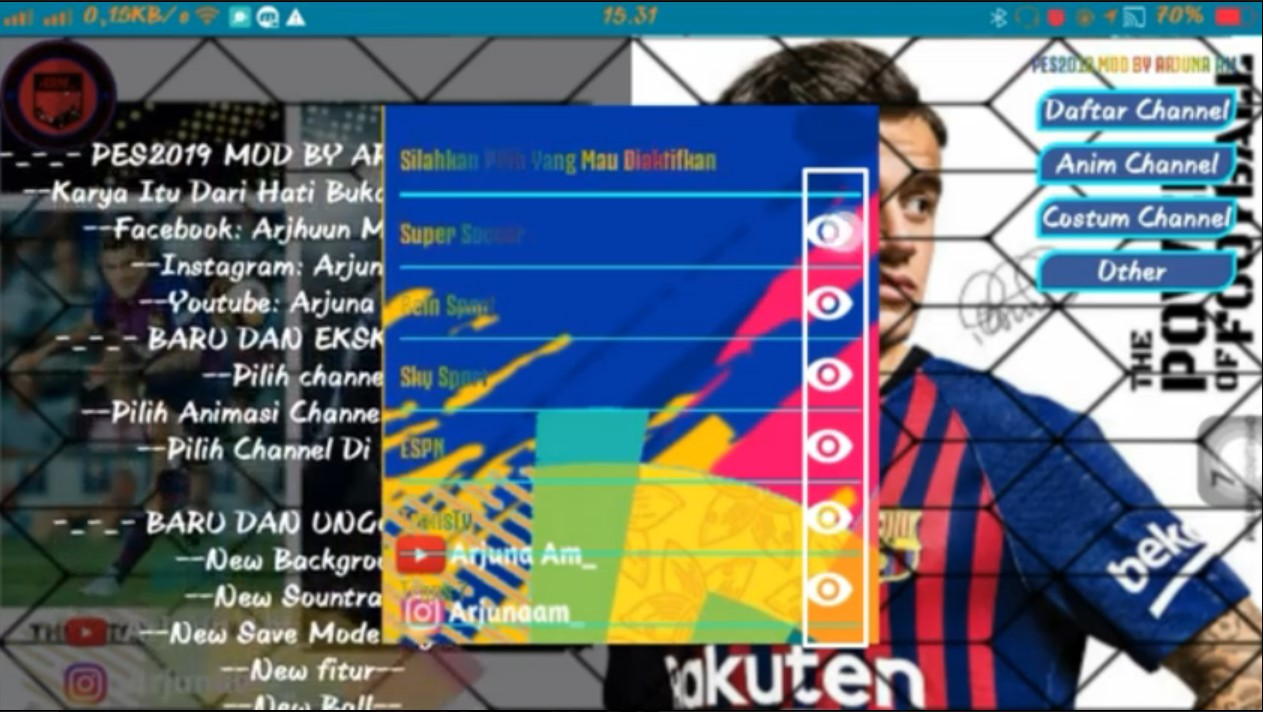 Download Fts Mod Pes 2019 Features Select Channel For Android